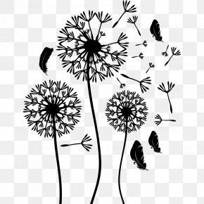 Flower - Pissenlit Sticker Flower Black And White Floral Design PNG