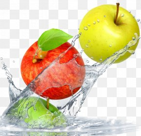 Dynamic Wave Into The Water Fruit Decoration Material - Water Filter Fruit Apple Orange Wallpaper PNG