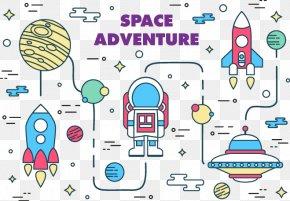 Vector Illustration Space Adventures - Euclidean Vector Astronaut Illustration PNG