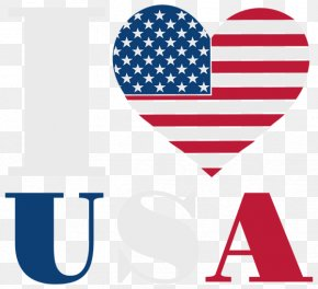 I Love The American Flag WordArt - Flag Of The United States Heart Clip Art PNG