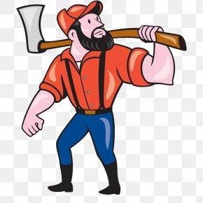 A Man With An Axe - Paul Bunyan Axe Cartoon Illustration PNG