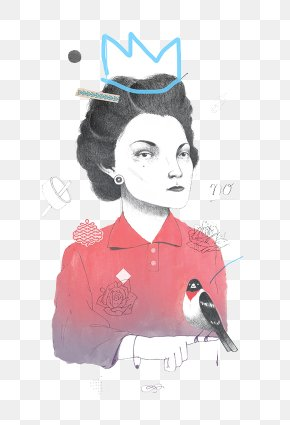 Hand-painted Portrait Of Queen Serious - Portrait Illustrator Behance Illustration PNG