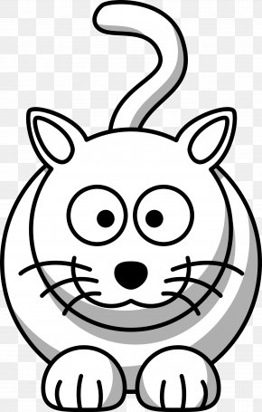 Animal Vector Art - Cat Drawing Black And White Cartoon Clip Art PNG