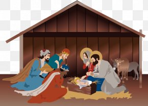 January Scene - Nativity Scene Nativity Of Jesus Christmas Day Clip Art Christmas PNG