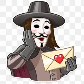 Sticker Guy Fawkes Mask Decal Telegram V For Vendetta PNG