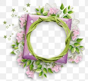 Floral Round Frame Photos - Flower Picture Frame Purple Clip Art PNG