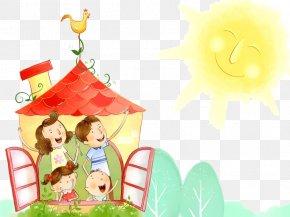 Warm Sunshine - Family Happiness Cartoon Love Wallpaper PNG