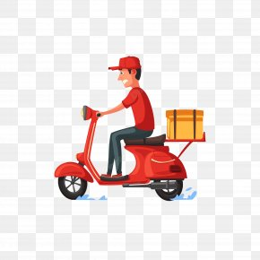 Motorized Scooter Automotive Wheel System - Delivery Flat Design PNG
