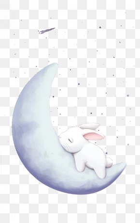 Sleeping On The Moon Rabbit - Moon Rabbit Mid-Autumn Festival European Rabbit PNG