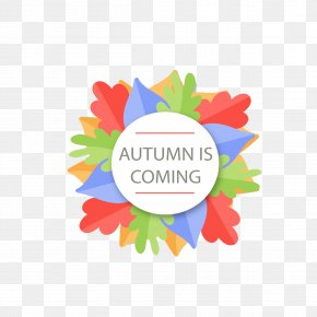 Colored Autumn Leaves Circular Label - Paper Autumn Label PNG