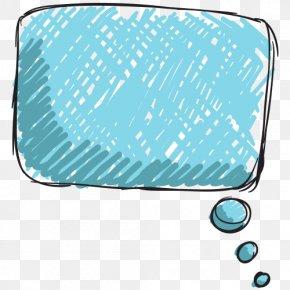Hand-painted Cartoon Blue Chat Box - Blue Speech Balloon Dialogue PNG