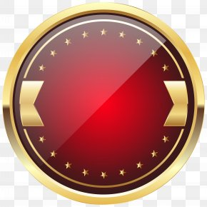 Red And Gold Badge Template Clip Art Image - Badge Logo Clip Art PNG