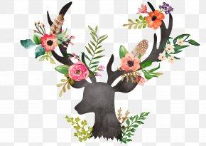 Buck Deer Head - Deer Flower Painting Watercolor Painting Drawing PNG