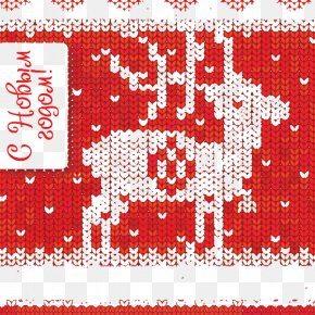 Creative Knitting Red Reindeer - Reindeer Cross-stitch Knitting PNG