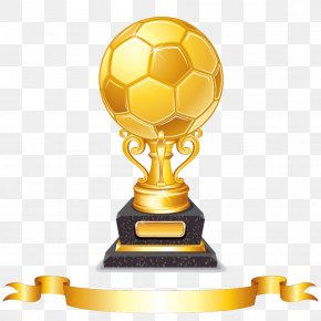 Gold Football Trophy And Ribbons - Trophy Euclidean Vector Football PNG