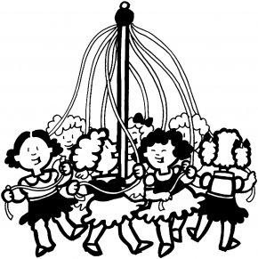 Mayday Cliparts - Coloring Book May Day Maypole Child PNG