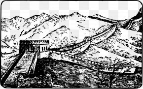 Great Wall Of China - Great Wall Of China Black And White Clip Art PNG