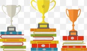 Trophy On Books - Trophy Award PNG