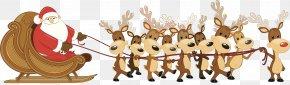 Santa Claus Elk Sleigh - Rudolph Santa Claus's Reindeer Santa Claus's Reindeer Christmas PNG