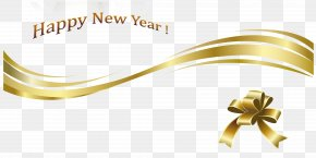 Happy New Year Gold Text And Decoration - New Year's Day Christmas Clip Art PNG